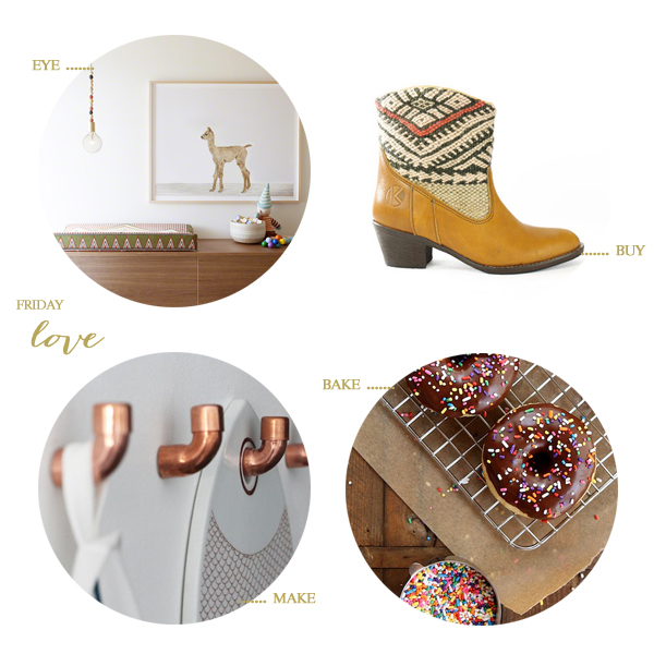 a baby alpaca nursery, kilim boots, diy copper wall hooks, and baked brown butter doughnuts