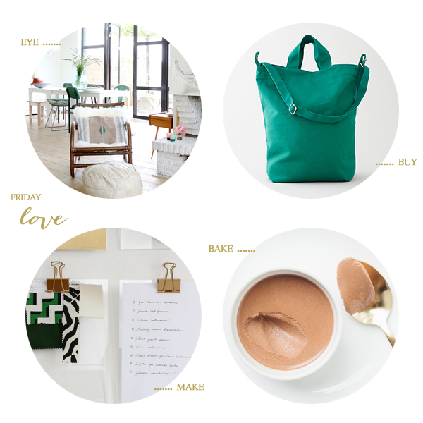a beautiful home, a great cheap bag, diy gold clipboards, and chocolate panna cotta