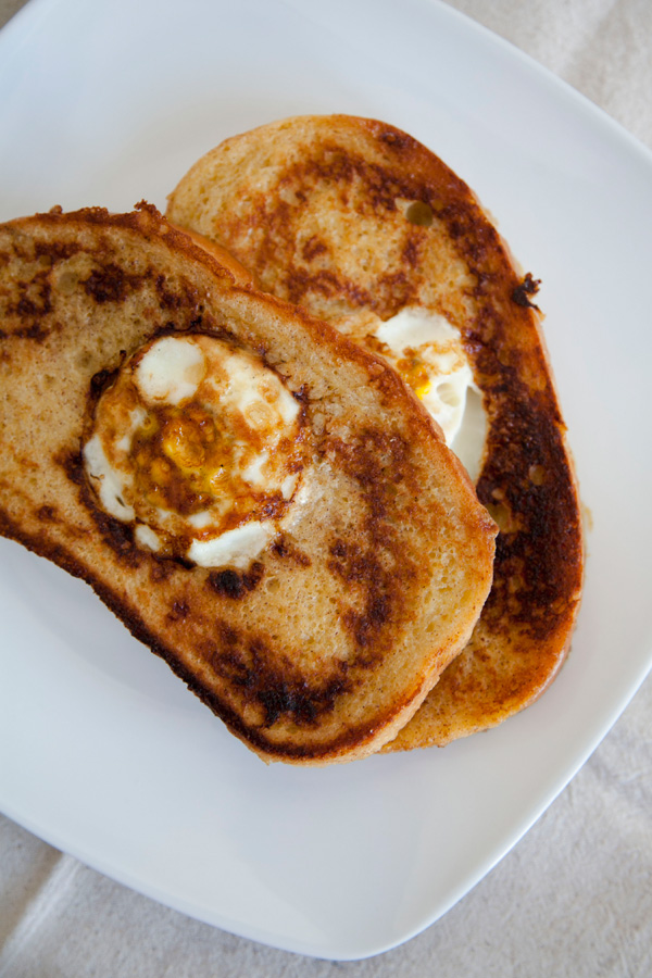 egg in a basket french toast // a thousand threads