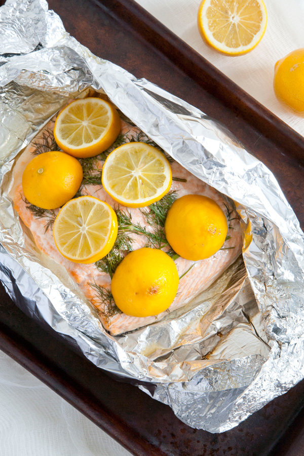 baked salmon with meyer lemon and dill // a thousand threads