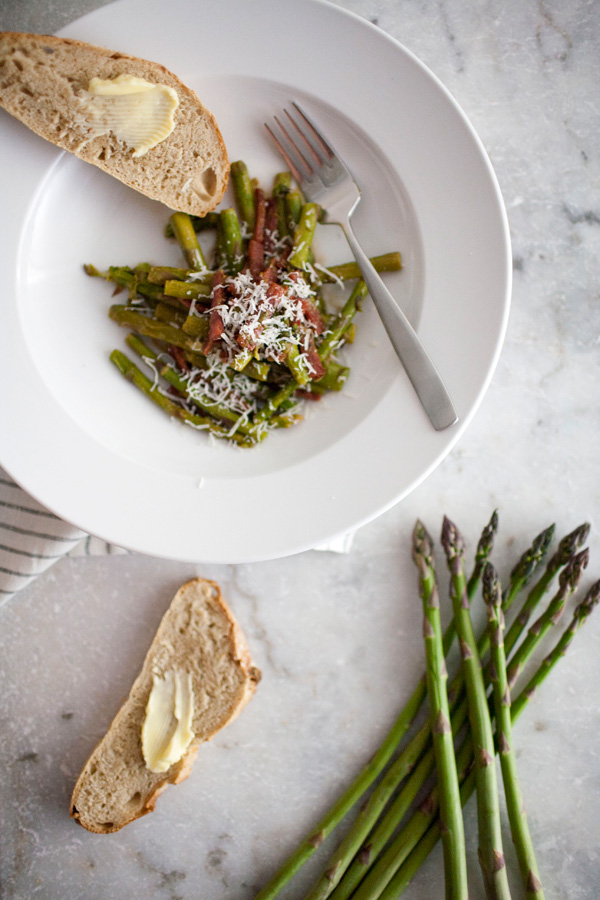 warm asparagus salad with dry aged salami and lemon // a thousand threads