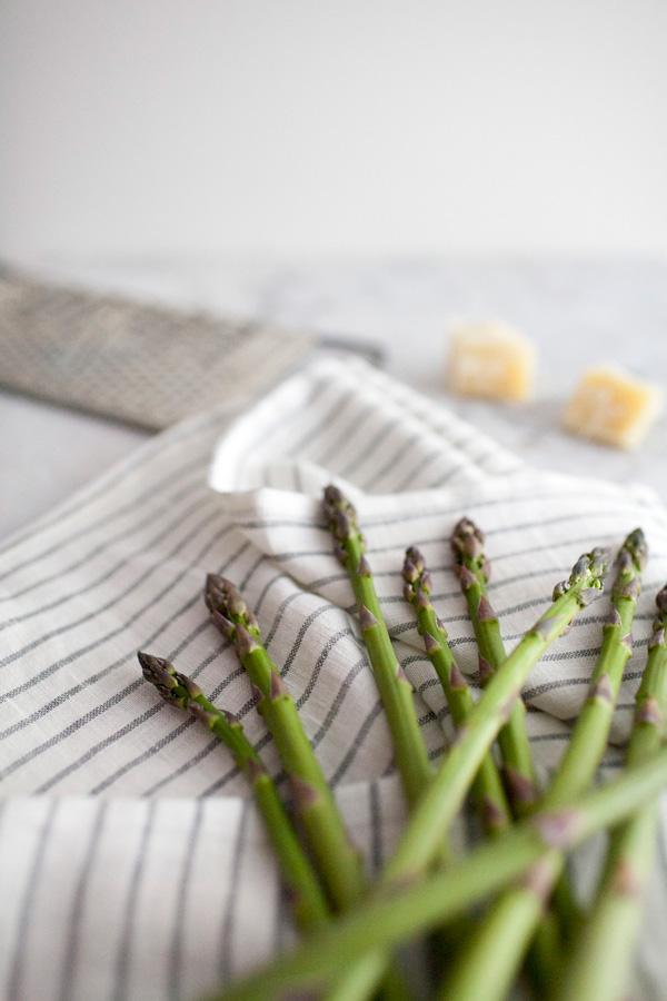 warm asparagus salad with dry aged salami and lemon // a thousand threads