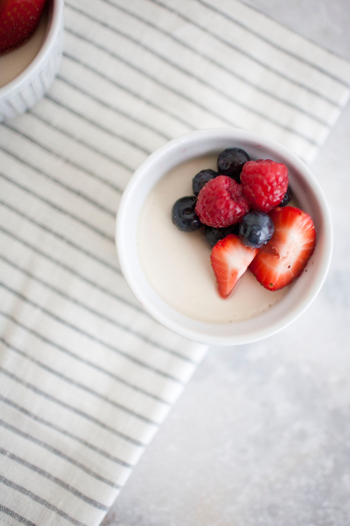 coconut panna cotta with fresh berries // a thousand threads