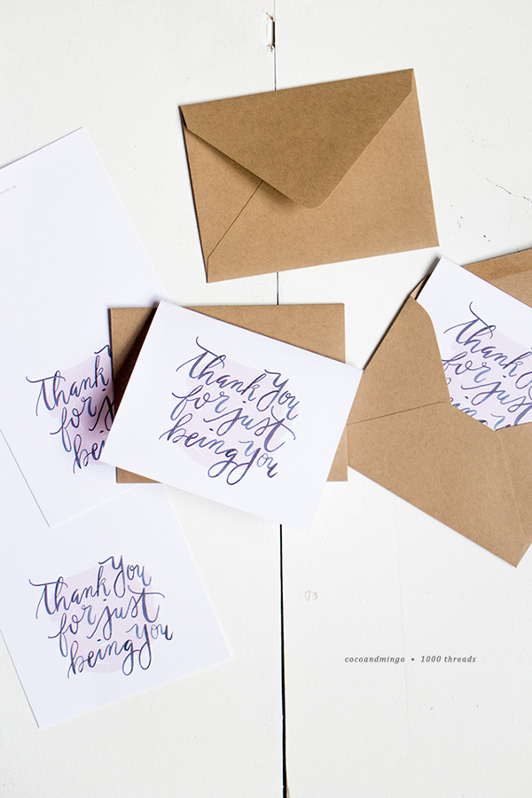 printable thank you card // coco and mingo for a thousand threads