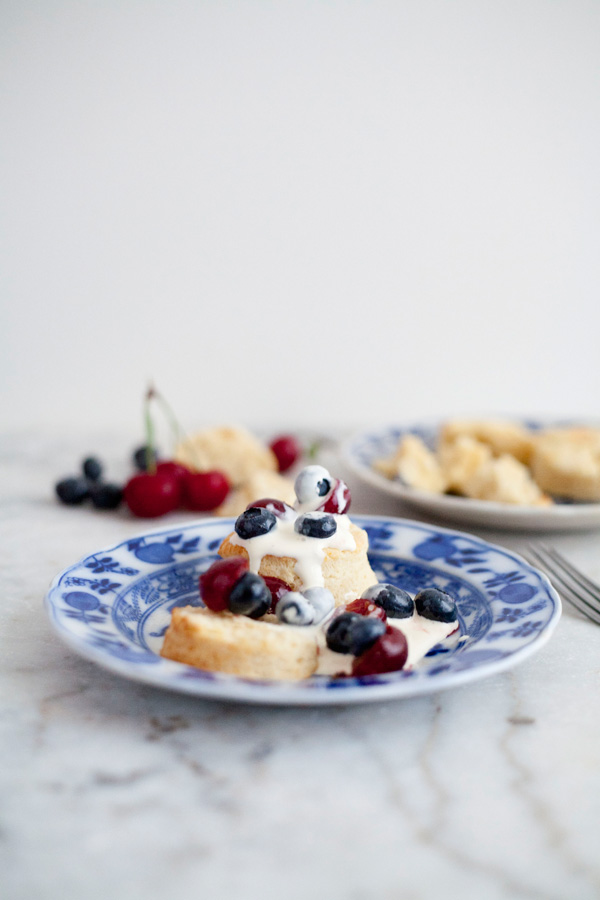 cream biscuits with fresh summer fruit // a thousand threads