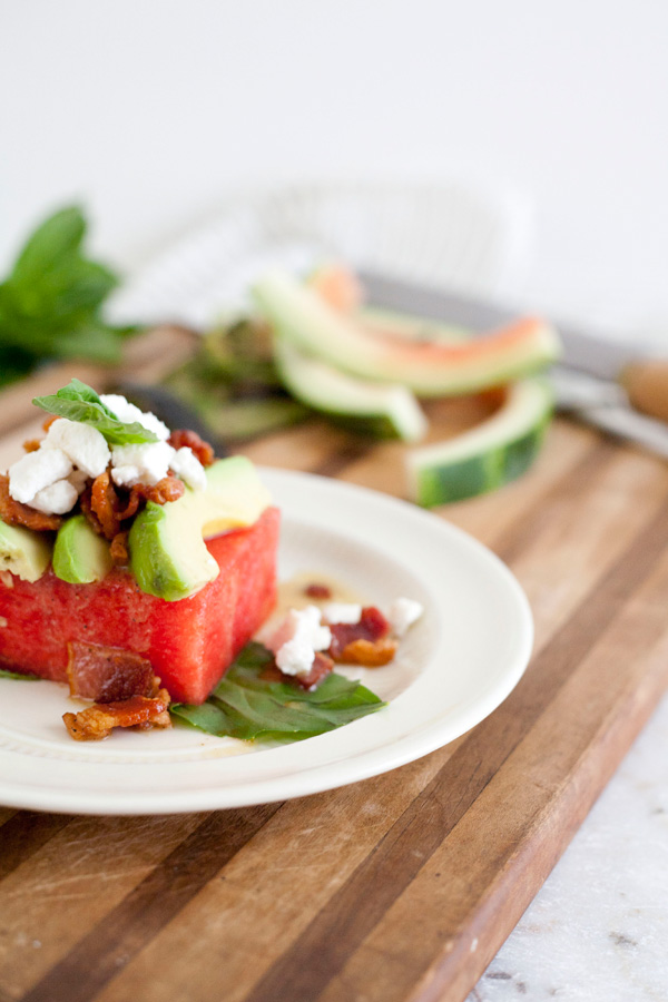 watermelon salad with goat cheese, basil, and bacon vinaigrette // a thousand threads