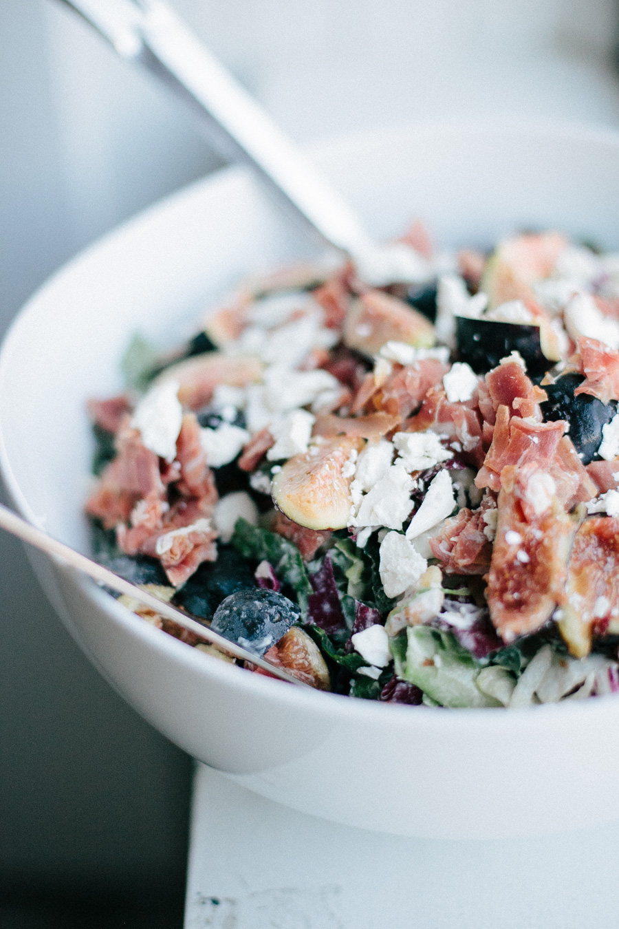 chopped kale with prosciutto and figs // a thousand threads