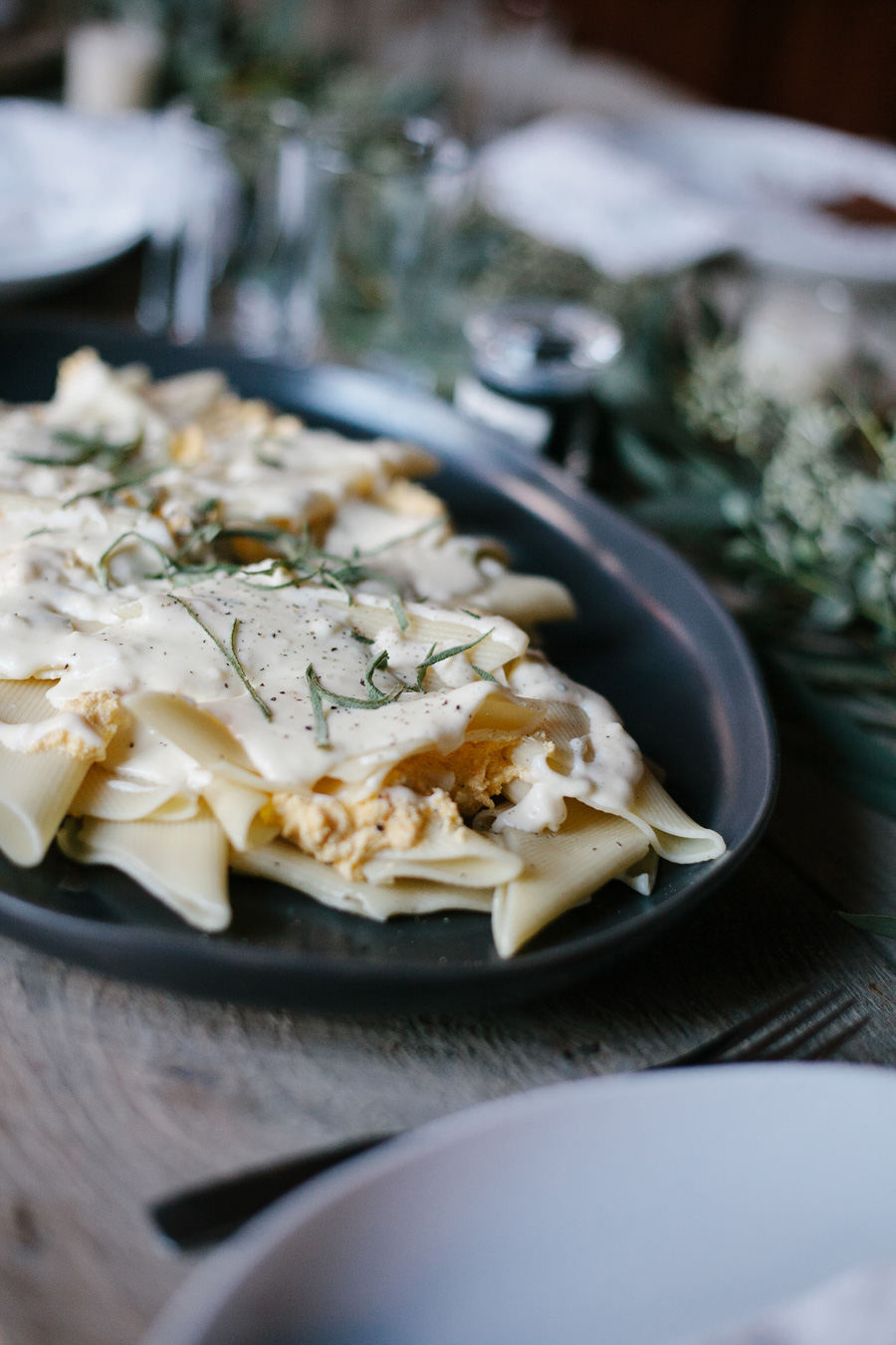 pumpkin, ricotta, and sage-filled pasta with cream // a thousand threads