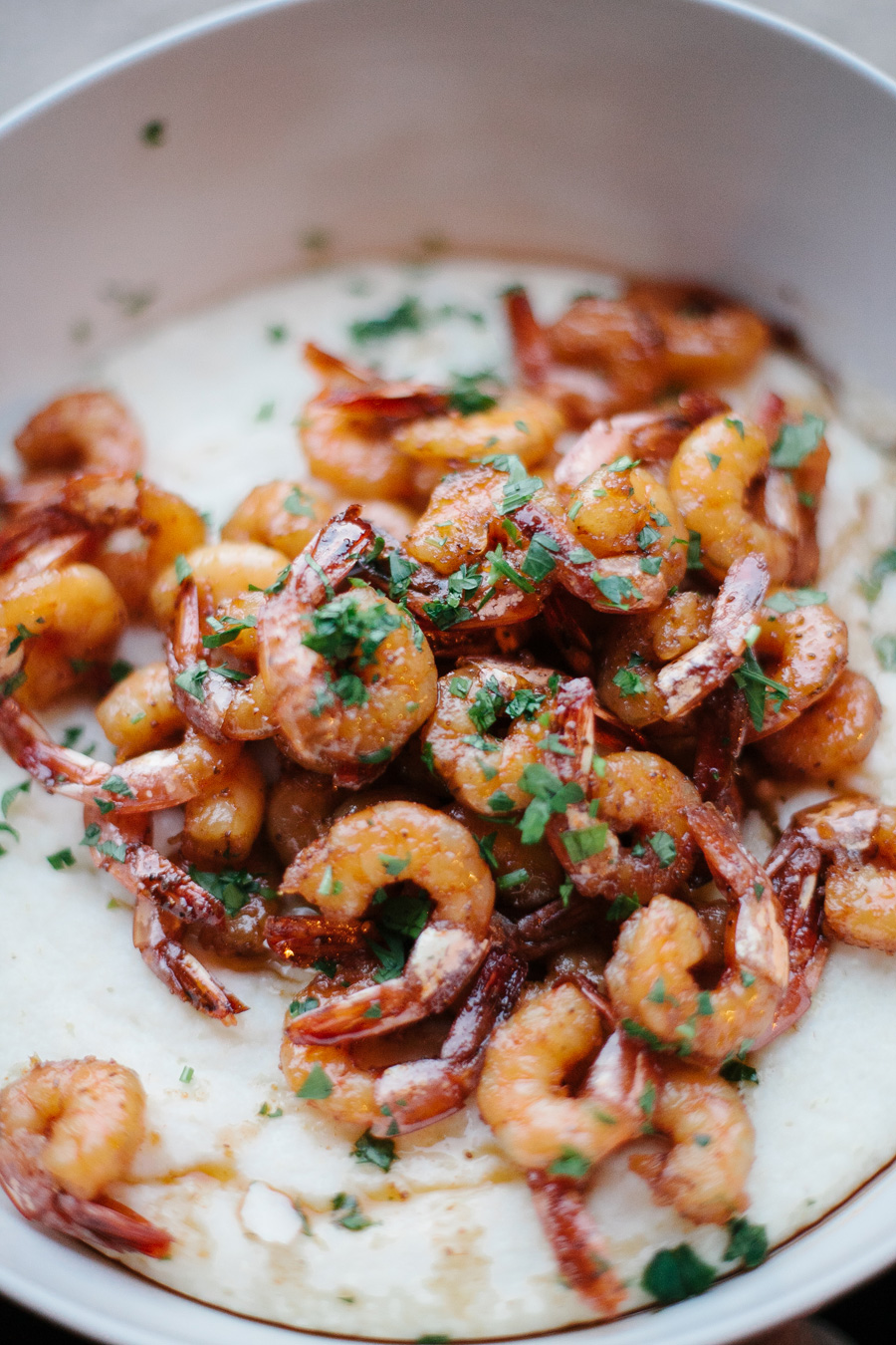 maple glazed shrimp and cream cheese grits // a thousand threads