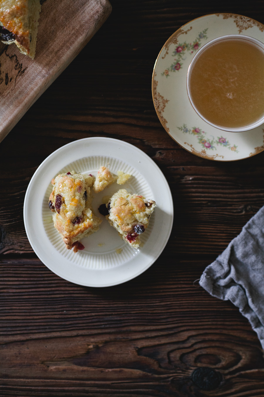 cranberry scones with clementine glaze // a thousand threads