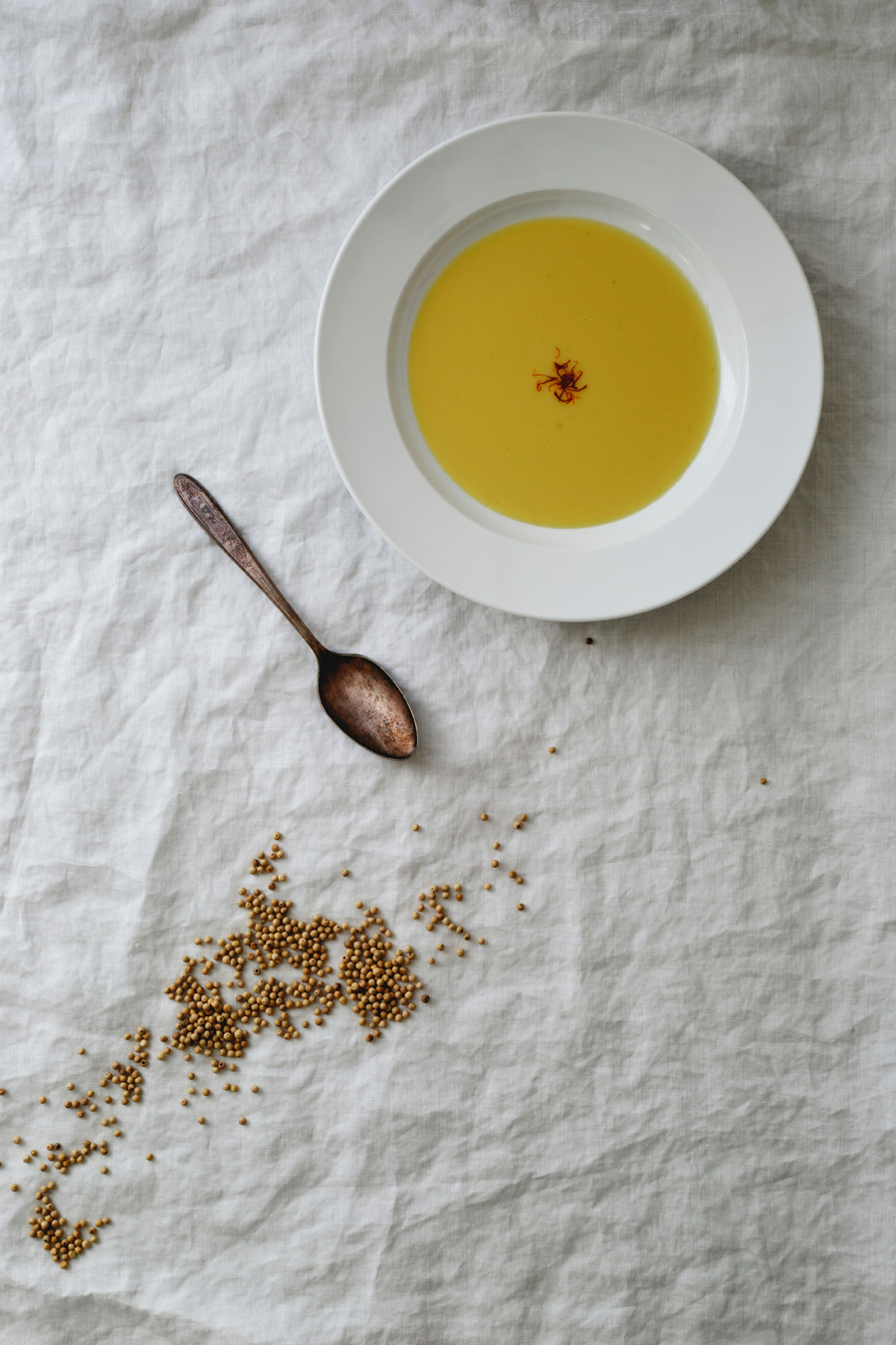 saffron leek soup // a thousand threads