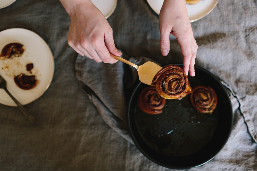 cinnamon buns with bacon, peanut butter, and banana // a thousand threads