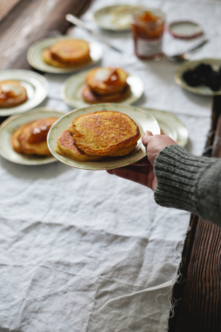 hoecakes with cream cheese and golden plum jam // a thousand threads