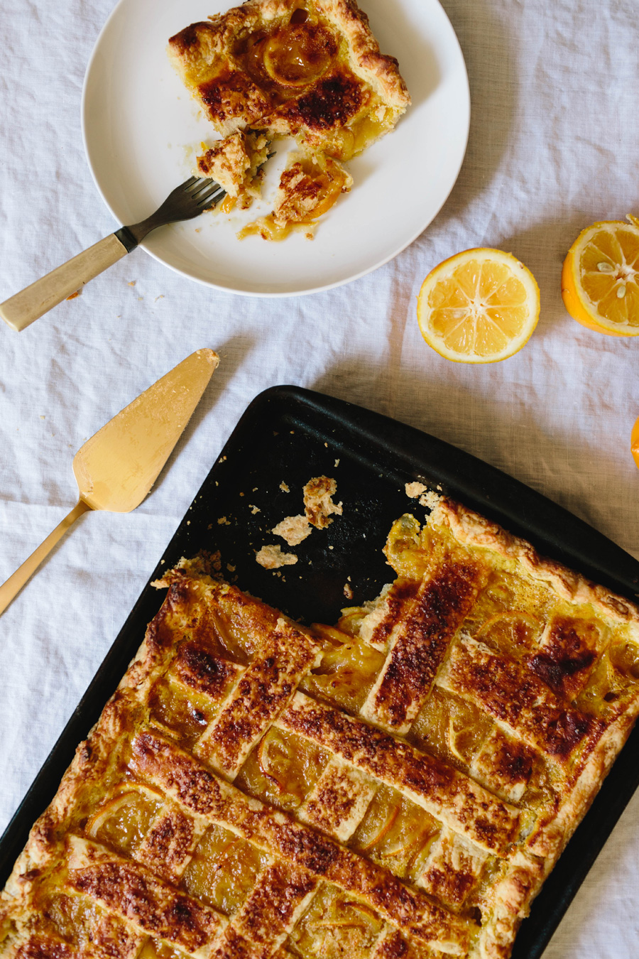 meyer lemon shaker slab pie // a thousand threads