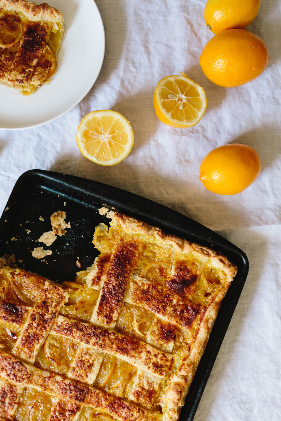meyer lemon shaker slab pie // a thousand threads