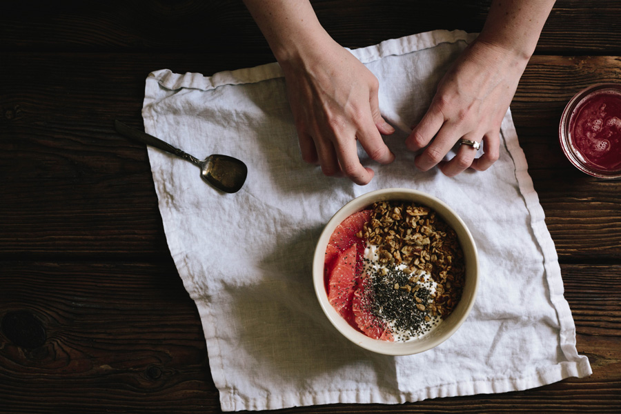 rhubarb breakfast bowl // a thousand threads