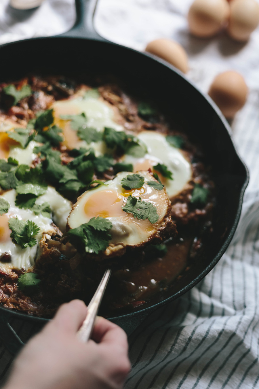 shakshuka with sausage and kale // a thousand threads