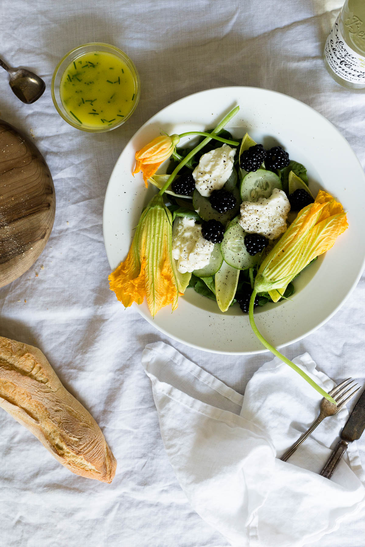 squash blossom salad with blackberries and burrata // a thousand threads