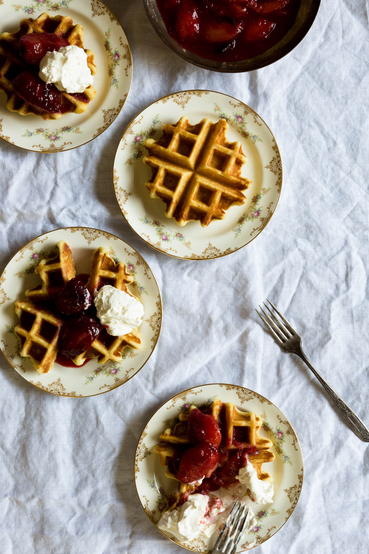 buttermilk waffles with sweet summer plums // a thousand threads