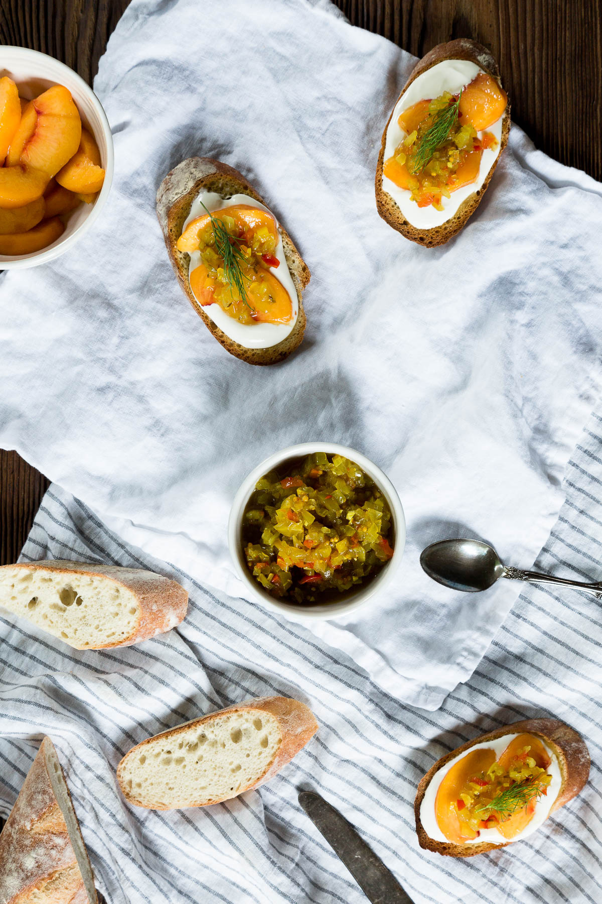 homemade dill relish crostini with peaches and quark // a thousand threads